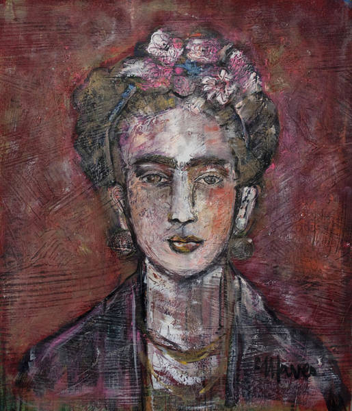 Painting - Frida In Red And Gold 2013 by Laurie Maves ART