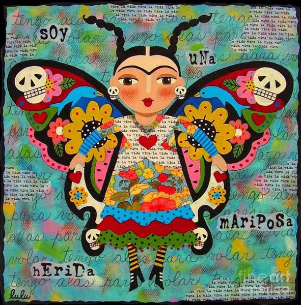 Wall Art - Painting - Frida Kahlo Butterfly by LuLu Mypinkturtle