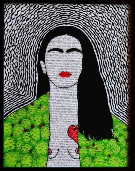 Blanco Y Negro Wall Art - Painting - Frida Kahlo Corazon De Tuna Y Sus Fraces by YOLARTE Yolanda Ortiz