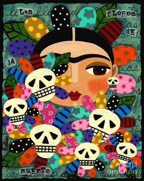 Wall Art - Painting - Frida Kahlo Day Of The Dead Flowers by LuLu Mypinkturtle