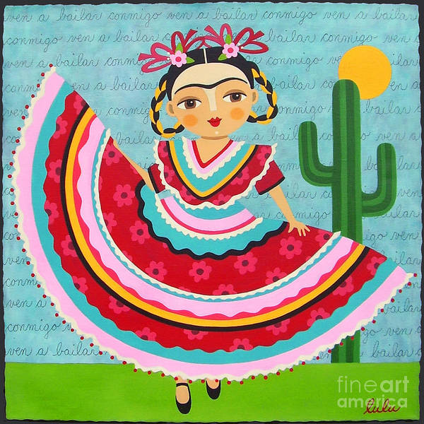 Wall Art - Painting - Frida Kahlo In Traditional Dress by LuLu Mypinkturtle