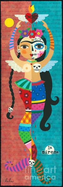 Wall Art - Painting - Frida Kahlo Mermaid Angel With Flaming Heart by LuLu Mypinkturtle