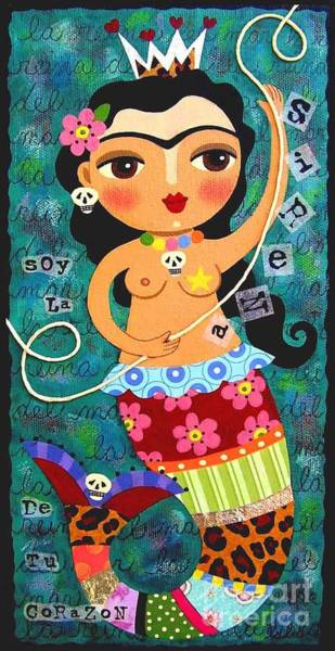 Wall Art - Painting - Frida Kahlo Mermaid Queen by LuLu Mypinkturtle