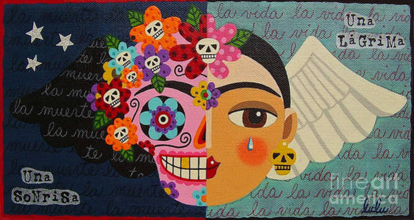 Dod Wall Art - Painting - Frida Kahlo Sugar Skull Angel by LuLu Mypinkturtle