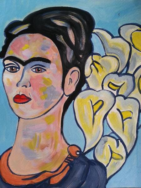 Painting - Frida Kahlo With Calla Lilies by Nikki Dalton