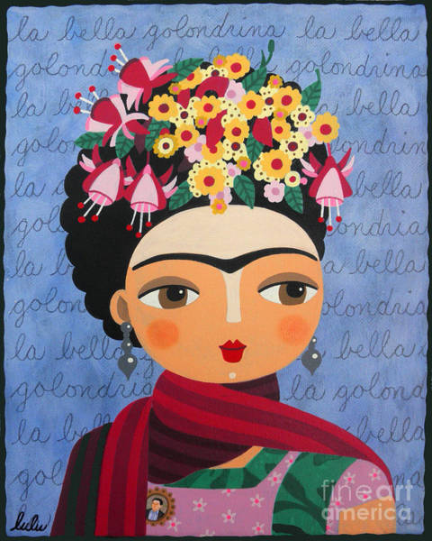 Wall Art - Painting - Frida Kahlo With Fuschias And Lantanas by LuLu Mypinkturtle