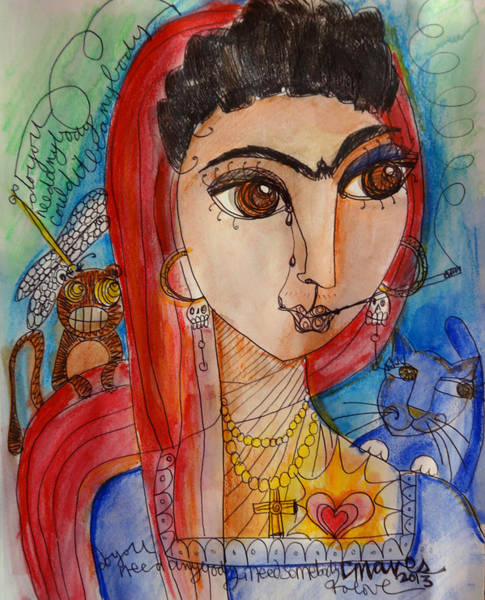 Painting - Frida Love For La Madonna by Laurie Maves ART