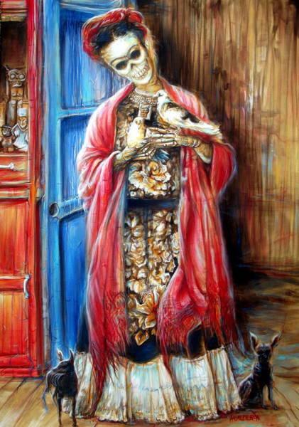Bone Painting - Frida With Doves by Heather Calderon
