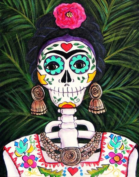 Wall Art - Painting - Frida With Palms by Candy Mayer