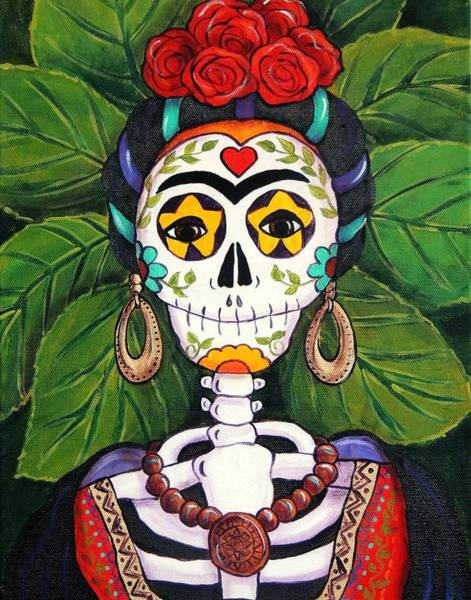 Wall Art - Painting - Frida With Roses by Candy Mayer