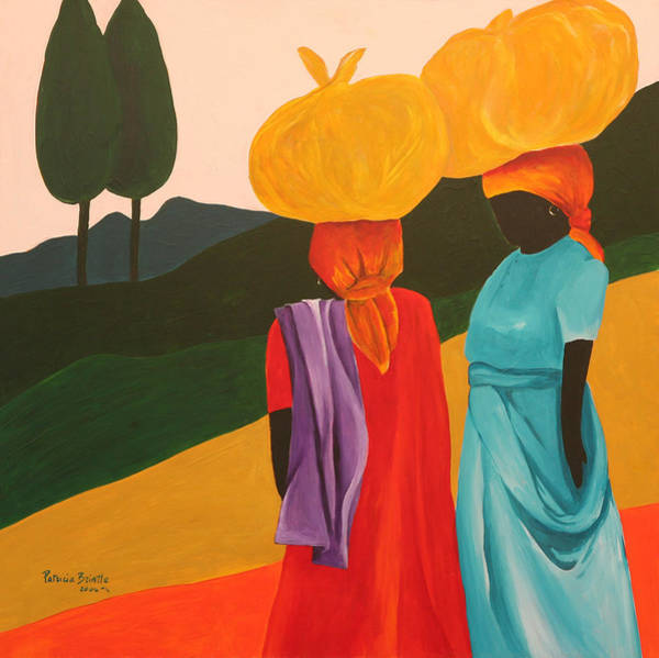 African Women Painting - Friendly Encounter by Patricia Brintle