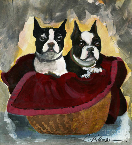 Snuggle Painting - Friends.  A Pair Of Boston Terrier Dogs Snuggle In A Warm Basket. by Cathy Peterson