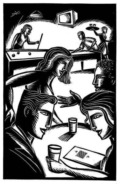 Friends At Bar Art Print by Jerry Nelson