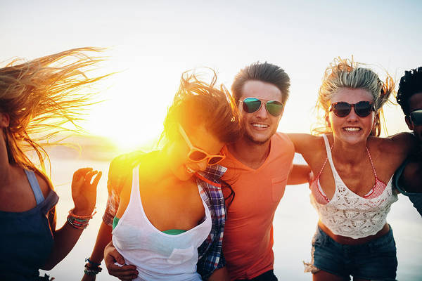 Friendship Photograph - Friends Dancing On Beach In Sunset by Wundervisuals