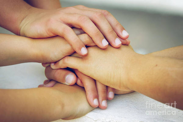 Together Forever Photograph - Friends Hands by Carlos Caetano