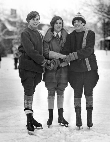 Skater Photograph - Friends Skating At Lake Placid by Underwood Archives