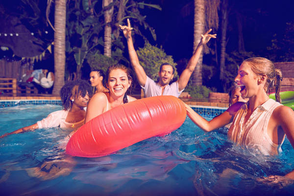 Friends Swimming At Pool Party Art Print by Django