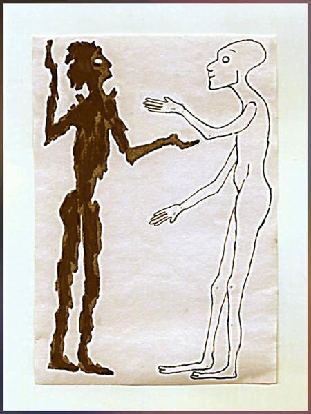 Drawing - Friends Talking by Hartmut Jager