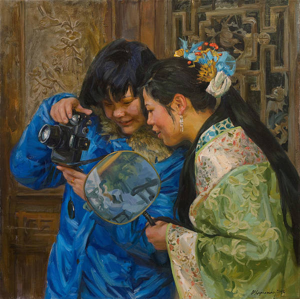 Asian Wall Art - Painting - Friends by Victoria Kharchenko