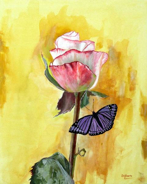 Single Rose Painting - Friendship by Michael Dillon