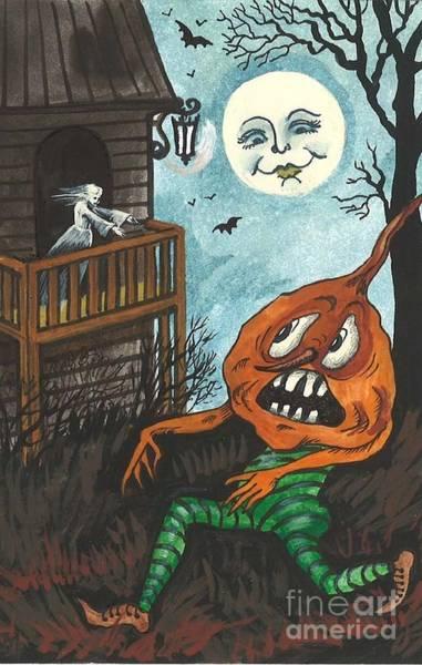 Pumpkinhead Wall Art - Painting - Frightened Pumpkinhead by Margaryta Yermolayeva