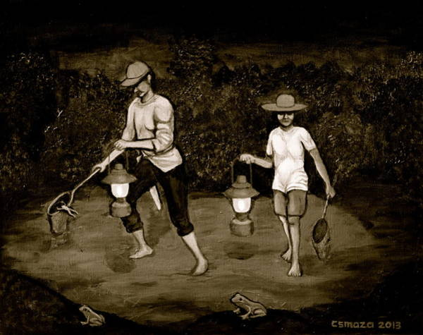 Painting - Frog Hunters Black And White Photograph Version by Cyril Maza