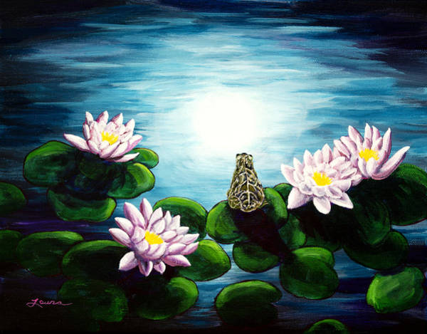 Frog Painting - Frog In A Moonlit Pond by Laura Iverson