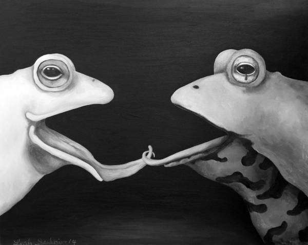 Painting - Frog Love-french Kiss Edit 2 by Leah Saulnier The Painting Maniac
