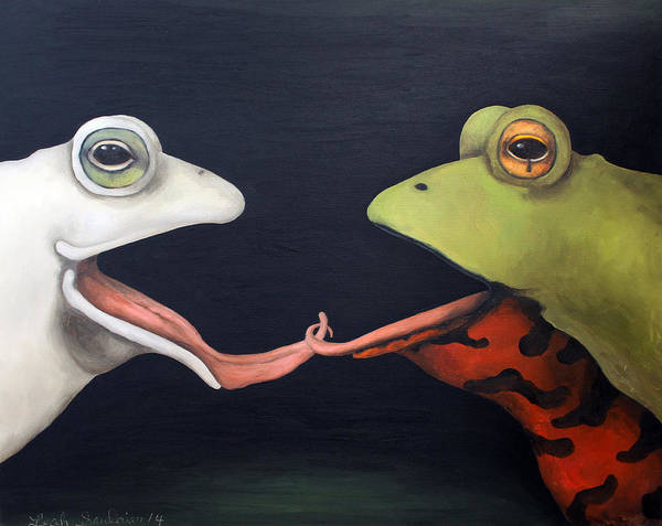 Painting - Frog Love-french Kiss by Leah Saulnier The Painting Maniac