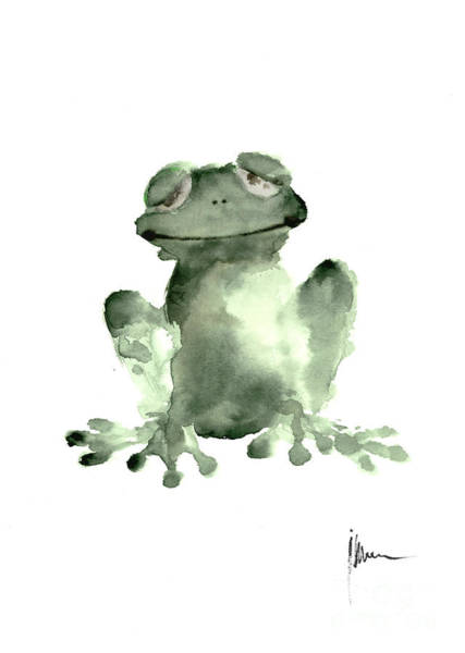 Amphibian Wall Art - Painting - Frog Painting Watercolor Art Print Green Frog Large Poster by Joanna Szmerdt
