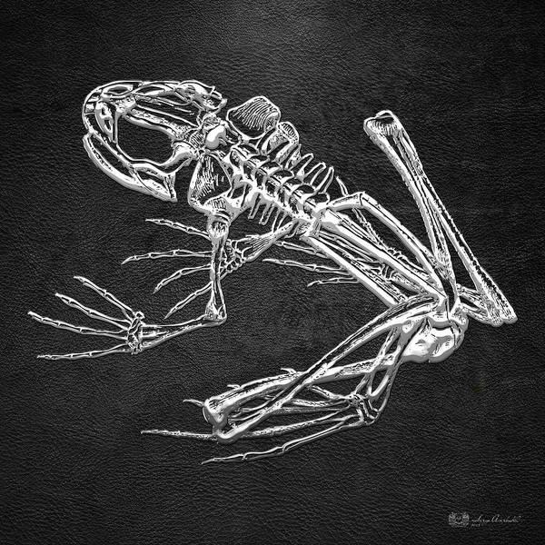 Digital Art - Frog Skeleton In Silver On Black  by Serge Averbukh