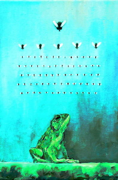 Videogame Painting - Frog With Flies In Space Invaders Formation by Fabrizio Cassetta