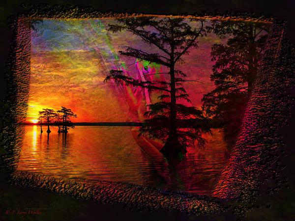 Cypress Digital Art - Froggy Morning Sunrise by J Larry Walker