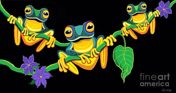 Wall Art - Painting - Frogs On Vines by Nick Gustafson