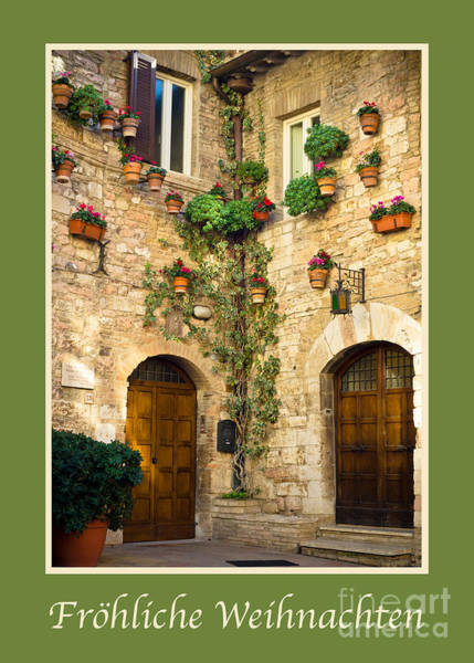 Weihnachten Photograph - Frohliche Weihnachten With A Corner Of Assisi by Prints of Italy