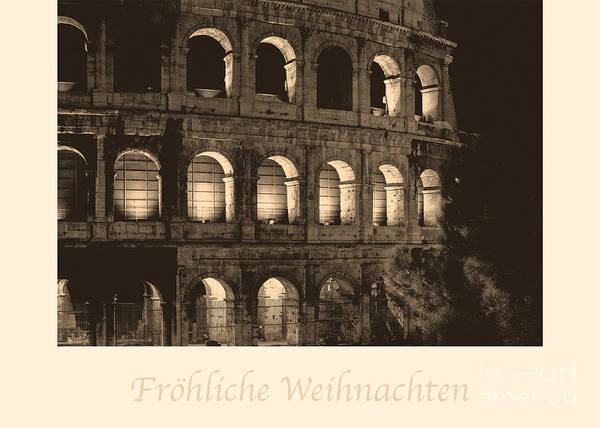 Weihnachten Photograph - Frohliche Weihnachten With Colosseum by Prints of Italy