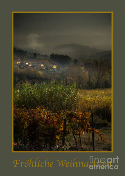 Weihnachten Photograph - Frohliche Weihnachten With Foggy Tuscan Valley by Prints of Italy