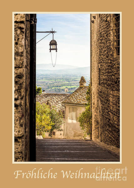Weihnachten Photograph - Frohliche Weihnachten With Valley Outside Assisi by Prints of Italy