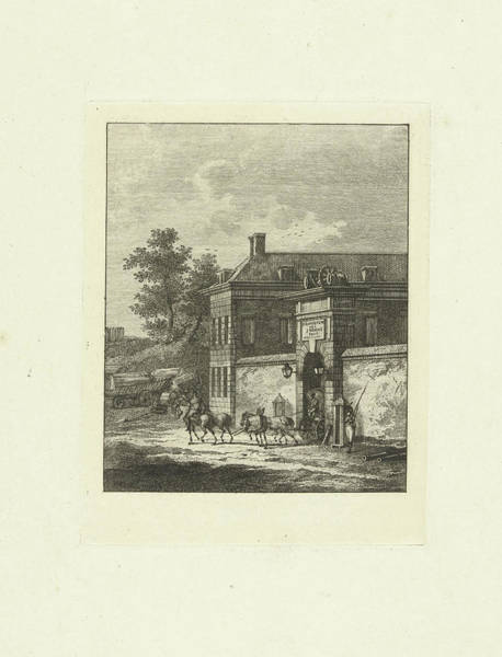 Duty Drawing - From A Gate Of A Fort Rides A Chariot, Next To The Gate by Joannes Bemme