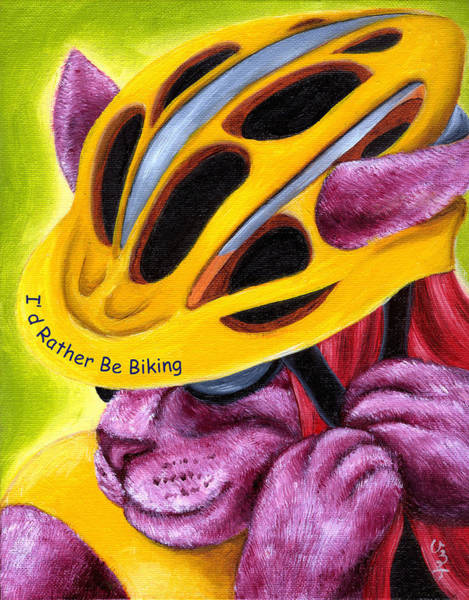 Cycling Helmet Painting - From Purple Cat Illustration 6 by Hiroko Sakai
