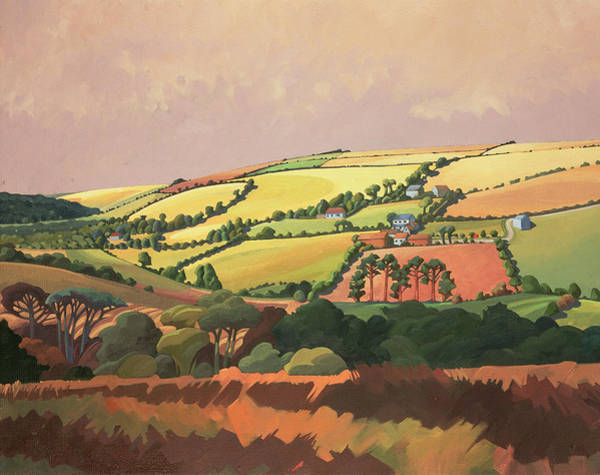 English Countryside Photograph - From The Train, South Devon, No.1 Oil On Canvas by Anna Teasdale