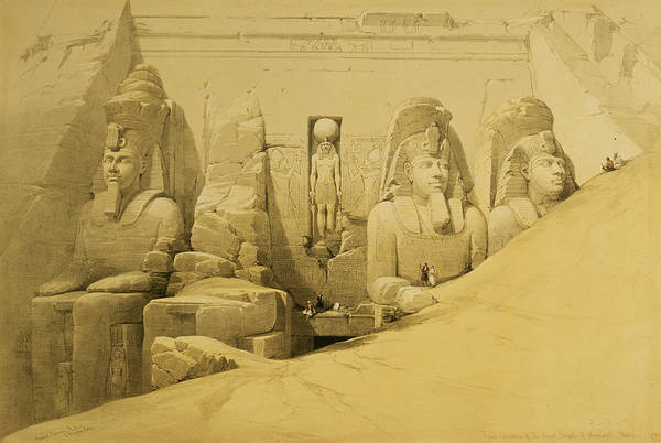 Historical Figure Painting - Front Elevation Of The Great Temple Of Aboo Simbel by David Roberts