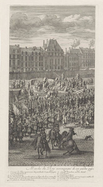 Courtiers Drawing - Front Of The Procession Of King Louis Xiv Of France by Jan Van Huchtenburg And Adam Frans Van Der Meulen
