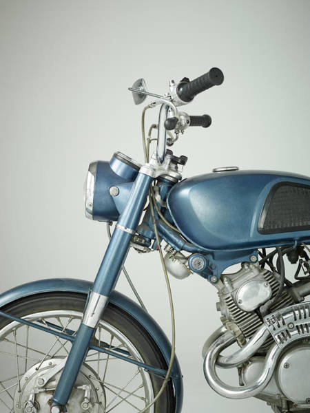 Wall Art - Photograph - Front Of Vintage Motorcycle In Studio by Nisian Hughes