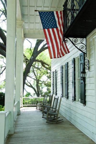 Usa Flag Photograph - Front Porch Of Kaminski House Museum by Dennis K. Johnson