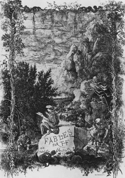 Title Page Wall Art - Drawing - Frontispiece Illustration From Fables By Hippolyte De Thierry-faletans by Rodolphe Bresdin