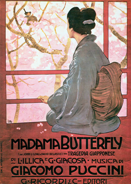 Wall Art - Photograph - Frontispiece Of The Score Sheet For Madame Butterfly By Giacomo Puccini 1858-1924 Colour Litho See by Italian School