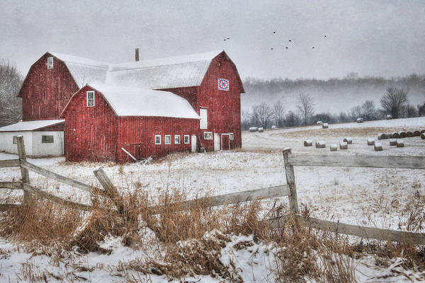 Barn Snow Digital Art - Frosted Hay Bales by Lori Deiter