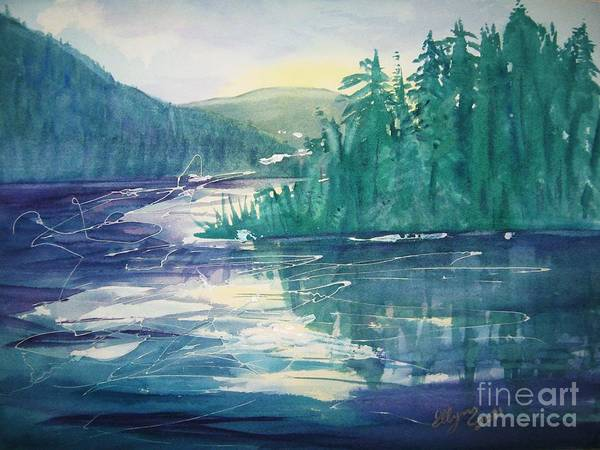 Catskills Painting - Frosted Lake View North South Lake by Ellen Levinson