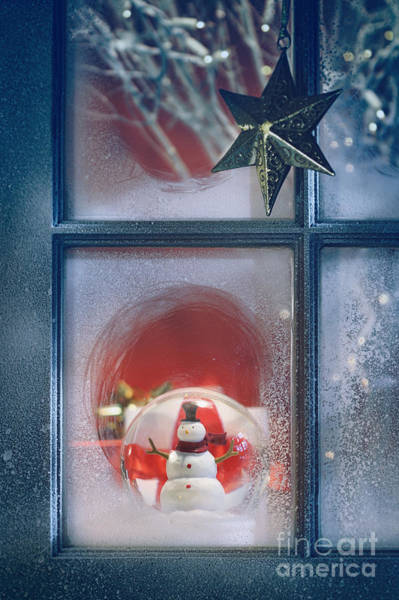 Photograph - Frosted Window With Christmas Decoration Inside by Sandra Cunningham